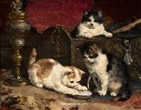 kittens playing with a pocket watch by charles h. van den eycken
