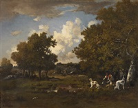 boy with four spaniels, fontainebleau forest by narcisse virgile diaz de la peña