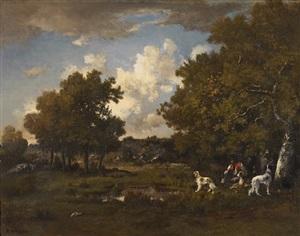 boy with four spaniels, fontainebleau forest by narcisse virgile diaz de la peña