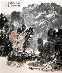 autumn scene with two figures on bridge by xu yisheng