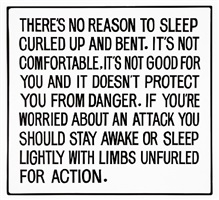 living series: there is no reason to sleep curled up … by jenny holzer