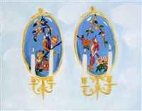 french 19th century enamel wall sconces with birds, over normandy by karen kilimnik
