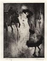 dame, eine pferdedroschke rufend by lesser ury