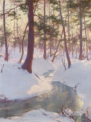 stream in winter, sunset by walter launt palmer