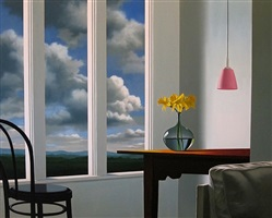 interior with pink lamp and daffodils by bruce cohen