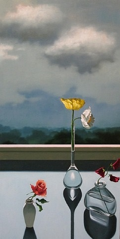 still life with three vases and landscape by bruce cohen