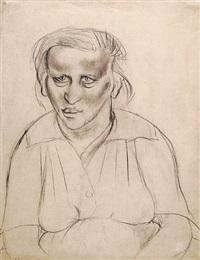 schwangere frau, verso: skizze einer stehenden schwangeren by otto dix