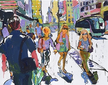 three women approaching a homeless man with camera by tom christopher