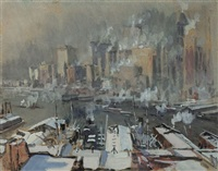 winter, new york harbor by joseph pennell