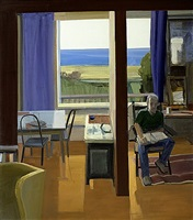 man reading in an imagined interior by christopher benson