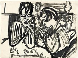 paar am tisch, verso: akt im tub (1911) by ernst ludwig kirchner