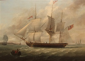 "the three masked armed merchantman ""barton"" off liverpool by john jenkinson"