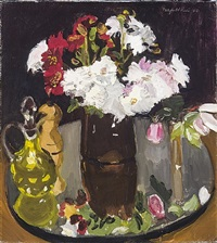 still life of flowers on a mirror by fairfield porter
