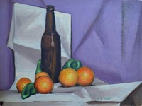 oranges and bottle by robert mcintosh
