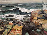 winter storm surf at schoodic point by michael vermette
