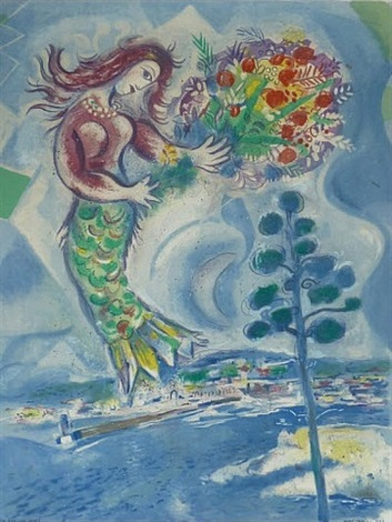 siren with pine (from nice and the cote d'azur) by marc chagall