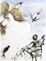 femme au perroquet (woman with parrot) by salvador dalí