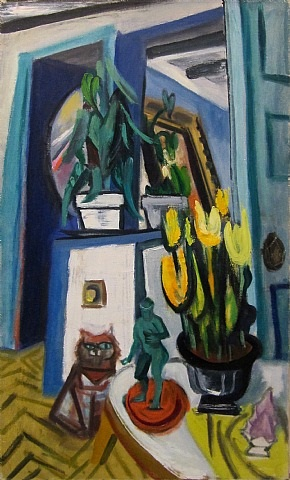tulips and cat by maurice freedman