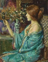 at her vanity by arvid frederick nyholm