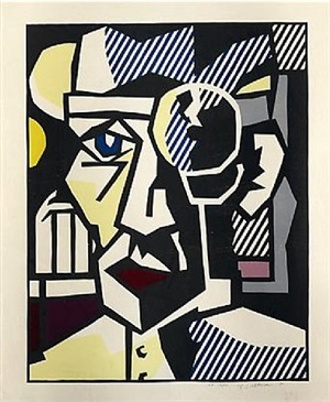dr. waldmann from the expressionist woodcut series by roy lichtenstein
