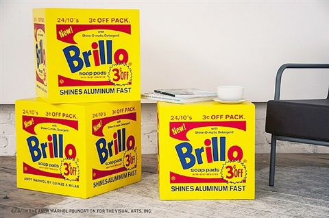 brillo box pouf (yellow) by andy warhol