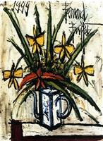 fleurs jaunes dans une théière by bernard buffet