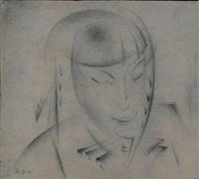 portrait of the artist's daughter by aleksandr konstantinovich bogomazov