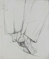 back of the legs (study for the painting the work of sawers) by aleksandr konstantinovich bogomazov