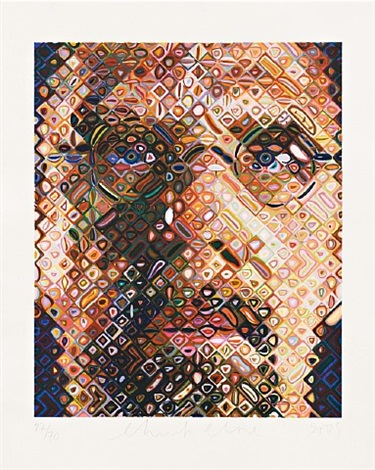 self-portrait woodcut by chuck close