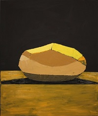 a carefully peeled golden wonder against a dark background by bruce mclean