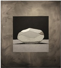 a carefully peeled grey golden wonder with sharp shadows by bruce mclean