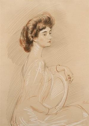 portrait of a woman by paul césar helleu
