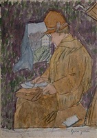 woman in a railway carriage by gwen john