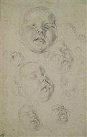 head of a baby and different studies of expressions by cornelis de vos