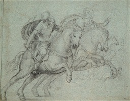 study of two horsemen by pordenone (giovanni antonio)
