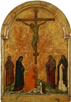 crucifixion with four saints and kneeling dominican devotee by ugolino di nerio