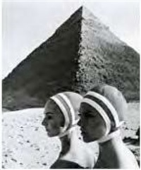 op-art fashion, karin mossberg und micky zenati, bathing caps by radium, giza, egypt by f. c. gundlach