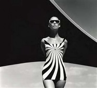 op-art fashion, brigitte bauer, swimsuit by sinz, greece by f. c. gundlach
