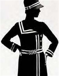op-art fashion, b/w jersey-coat by lend, paris by f. c. gundlach