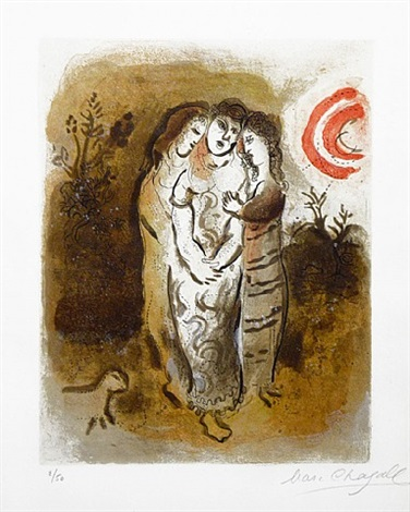 noémie et ses belles-filles (naomi and her daughters-in-law) drawings from the bible series by marc chagall