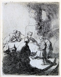 christ disputing with the doctors: small plate by rembrandt van rijn