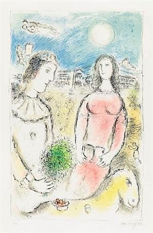 couple au crépuscule (couple at dusk) by marc chagall