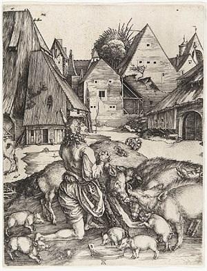 the prodigal son amid the swine by albrecht dürer