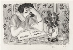 liseuse au bouquet de roses (reader with bouquet of roses) by henri matisse