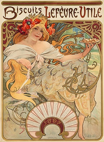 biscuits lefèvre-utile by alphonse mucha