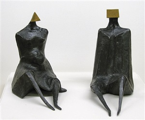 'sitting figure i' and 'sitting figure ii' by lynn chadwick