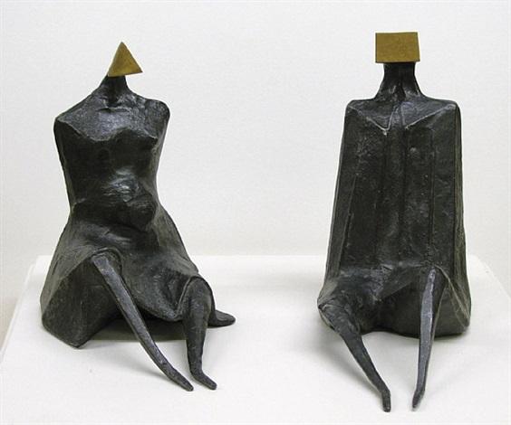 'sitting figure i' and 'sitting figure ii' by lynn chadwick