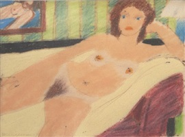 study for red head nude #7829 by tom wesselmann