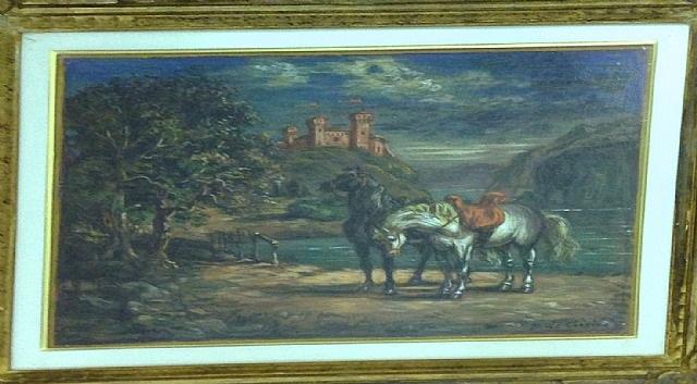 cavalli presso un lago by giorgio de chirico