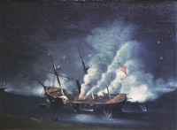 bombardment of port hudson, louisiana (the burning of the uss mississippi) by edward arnold